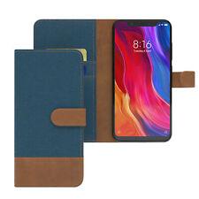 Tasche für Xiaomi Mi 8 Schutzhülle Jeans Cover Handy Wallet Case Hülle Blau