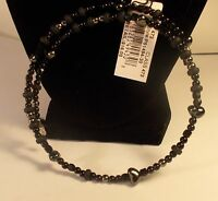 1 New Rebecca Malone Beaded Choker, Black and Black Crystal, 1 size fits all