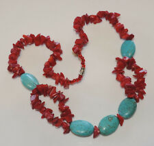 "Chunky Red Sea Bamboo Coral Blue Turquoise bead strand 22"" Necklace J18"