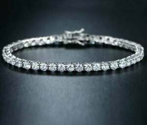 10.5Ct Round Cut D/VVS1 Diamond Tennis Bracelet 14k White Gold Finish 8 Inch 4mm