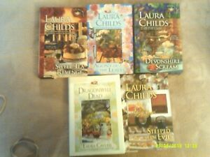 LAURA CHILDS---5 Hardcover books--From The TEA SHOP  Mystery Series