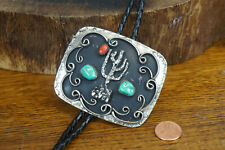 Large Sterling Silver & Turquoise Coral Native American Cactus Bolo Tie
