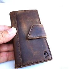 genuine natural leather case for iphone 4s 4 cover book wallet handmade brown AU