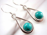 Blue Turquoise Globe Earrings 925 Sterling Silver Hoop Dangle Drop New