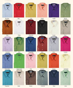 Men's Cotton Blend Solid Color Dress Shirt Size Medium to 4X Fortino Landi SG02