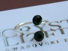 Black Silver Plated Toe Ring made with Swarovski Crystal Elements