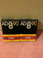 Lot of 2 1977 TDK High Fidelity Recording Tape Cartridge  8TR-90AD 8-Track Tapes