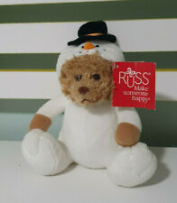 RUSS SNOWMAN TEDDY BEAR 17CM BEANS IN BUM WHITE SNOWMAN OUTFIT