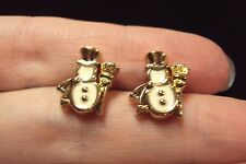 vintage festive Mr Snowman frosty white + gold stud earrings Avon 1992 Holiday