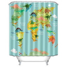 Dinosaur Map Fabric Waterproof Bathroom Shower Curtain Decor with 12 Hooks 1420