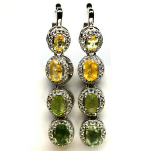 NATURAL GREEN YELLOW SAPPHIRE & WHITE CZ EARRINGS 925 STERLING SILVER