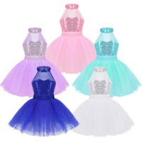 Girls Sequins Ballet Dance Tutu Dress Kids Gymnastics Leotard Skirt Wear Costume