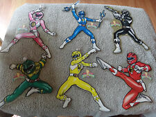 6 VTG 1994 POWER RANGERS Pink Green Red Black... WINDOW DECORATIONS Suction Cups