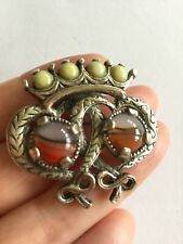 Vintage Miracle Brooch - Luckenbooth, Scottish Celtic, Green glass agate, signed