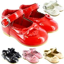 KIDS BABY INFANTS GIRLS TOODLER SPANISH PATENT BOW BUCKLE WEDDING PARTY SHOES SZ