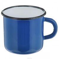 Original USSR Metal Mug, Soviet Russian Army Soldier Enameled Cup (Blue)