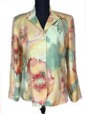 Chicos Womens Linen Blend Casual Floral Rose 3 Button Dress Jacket Blazer Size 1