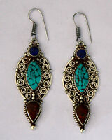 Ethnic handmade classic hook sterling silver earrings tops turquoise ER16