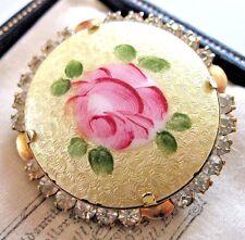 Pretty Vintage Guilloche Esmalte Rosa Cristal Estrás Joyería Pin Broche