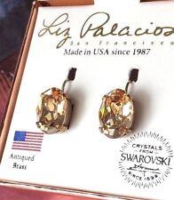 Liz Palacios USA golden champagne oval pavilion Swarovski crystal drop earrings