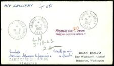 FRENCH SOUTHERN ANTARCTIC : Great 1963 Stampless cover to USA. Very Scarce.
