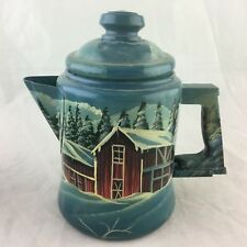 Hand Painted Red Barn House Cottage Scenic Winter Signed Tea/Water Pot