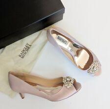 Badgley Mischka Layla Embellished  Peep Toe Heel Pump Blush Pink Satin US 6 M