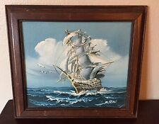 Vintage Clipper Ship Boat Painting Seascape Nautical Maritime Schooner Ocean Art