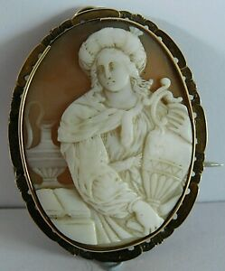 ANTIQUE CARVED SHELL CAMEO PLAQUE PENDANT / BROOCH / PIN, 5 X 3.9 CM