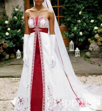 New White and red Satin Embroidery Wedding Dress A Line Long Train Bridal Gown