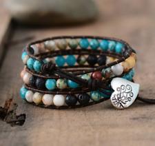 Natural Lava Rock & Imperial Jasper Beaded Wrap Bracelet Leather Cuff Black Blue