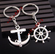 Crystal Metal Key Chain Ring Keychain Favorite Couple Love Fashion Anchor Rudder