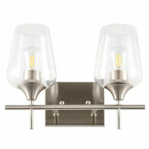 Merra 2-Light Brushed Nickel Wall Sconce Vanity Lights with Glass Shade