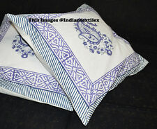 """Indian Block Print Cushion Cover 16x16"""" Ethnic Cotton Home Decor Pillow Set of 2"""