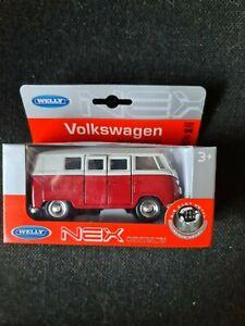 Welly 1/38 scale 1963 Volkswagen T1 Bus in Red die cast model