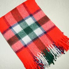Vtg Sears Harmony House Stadium Blanket Red Green Plaid Fringe 54x63 Sofa Throw