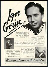 1948 Igor Gorin photo opera singing recital Usa tour booking trade print ad