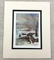 1905 Antique Print Horse Drawn Snow Plough Norway Norwegian Winter Landscape