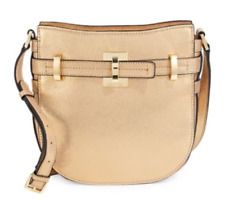 Calvin Klein $238 NWT Faye Gold Leather Dusted Suede Top Zip Crossbody Messenger