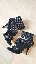 Zara Black Suede Studded Punk Fetish Ladies Stiletto Heels Shoes Size 40