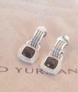 David Yurman Sterling Silver Albion 7x7 Drop Earrings W Black Onyx & Diamond