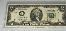 1-2003 $2 Dollar Bill Serial Number I 03886330 B Book End Bill In BCW Case Circl