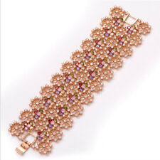 Mona Lisa Natural Pink Topaz Amethyst Morganite Rose Gold Plated Charm Bracelets