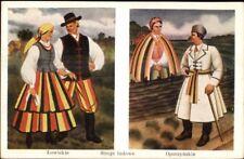 Polish Ethnic Costumes Lowickie Stroje Stroje Ludowe BORATYNSKI Postcard bck