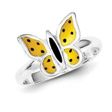 925 Sterling Silver Polished & Enameled Butterfly Ring Size 7