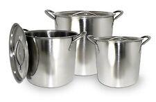 Kitchen Stock Pots 3 Pcs Cookware Lid Sauce Pan Kettle 8 Qt 12 Qt 16 Qt Soup Pot