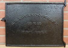 Antique HW COVERT Company New York Cast Iron Furnance Stove Door Art Plaque Sign