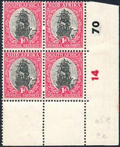South Africa 1947-54 1d grey & carmine, CYLINDER BLOCK 14 70, SG.115, stamps UM