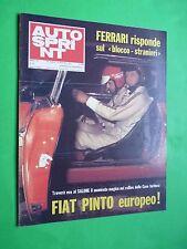 AUTOSPRINT 1972/44 Fiat Pinto europeo Rallies Case torinesi Ferrari +dome sprint