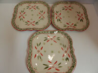 Set of 3 Temptations by Tara Old World Festive-Fetti Square Dinner Plates